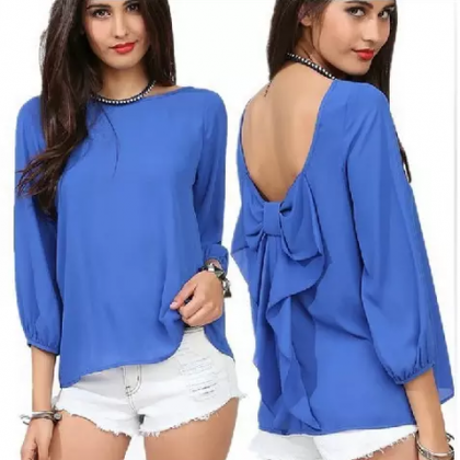 Ms chiffon blouse lace backless shi..
