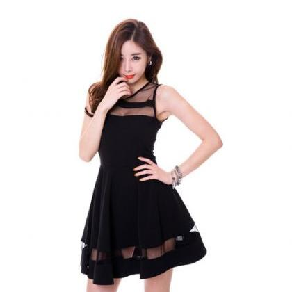 Chic Black Sheer Patch Sleeveless D..