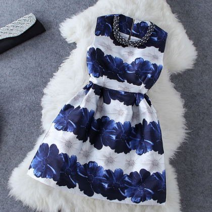 Women's New Fashion Style Collar Beaded Diamond Hit Color Flowers Sleeveless Dress