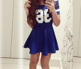 Cheap Fashion Bateau Neck Short Sleeves Numerals Print Blue Mini Dress