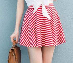 High Waist Retro Striped Skirt Big Skirt Bust Skirt