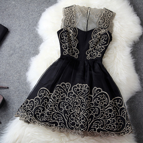 Fashion Flower Strap Embroidered Lace Dress