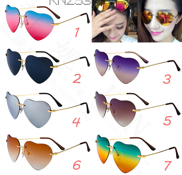 Heart-shaped reflector may gradient sunglasses