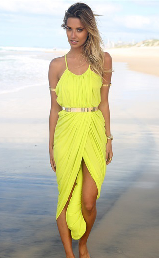 Sexy Bohemian Spaghetti Strap Asymmetrical Ankle Length Yellow Dress