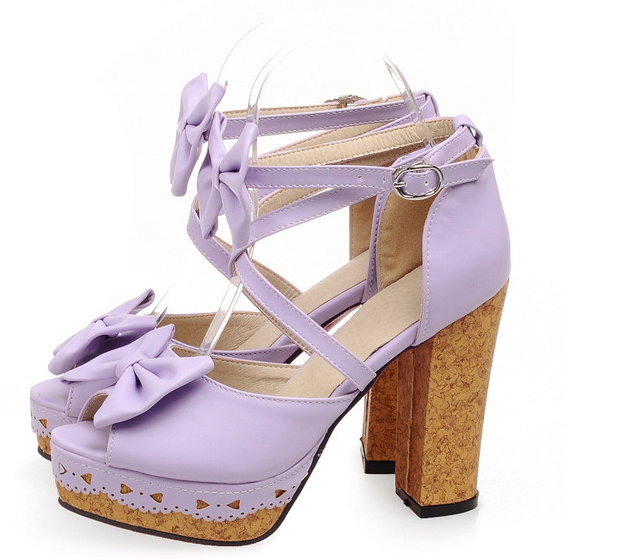 Adorable Strappy purple Sandals With Bow
