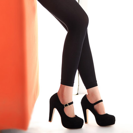 Suede Black Chunky High Heels on Luulla
