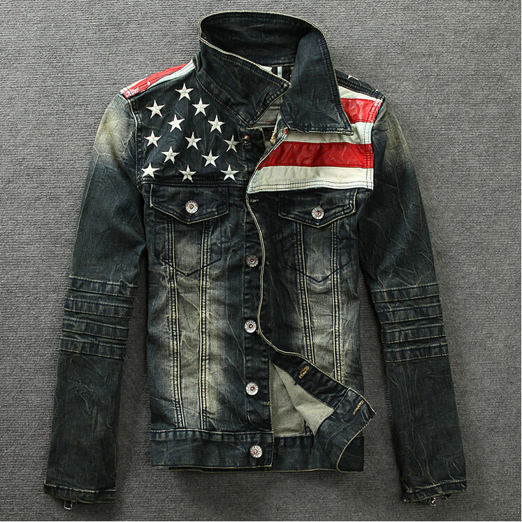 Mens Fashion American Flag Pattern Denim Coat Jeans Jacket Outwear