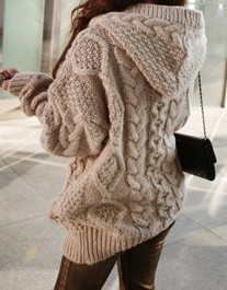 Hooded Long Sleeve Loose Cardigan Sweater Coat