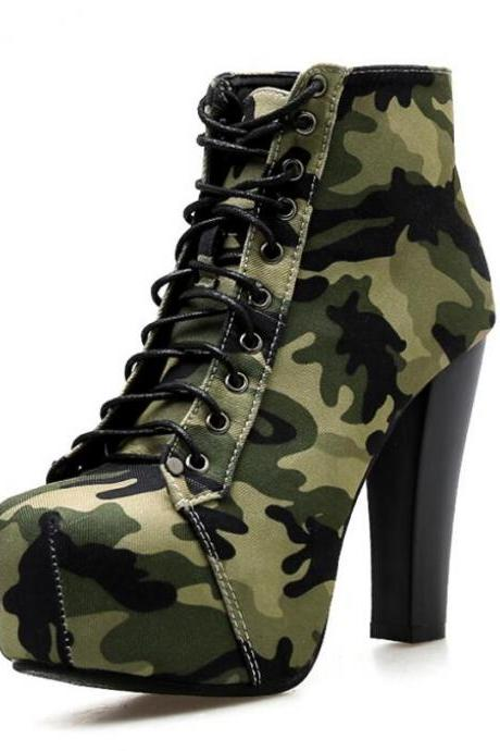 Lace Up Suede High Heel Boots