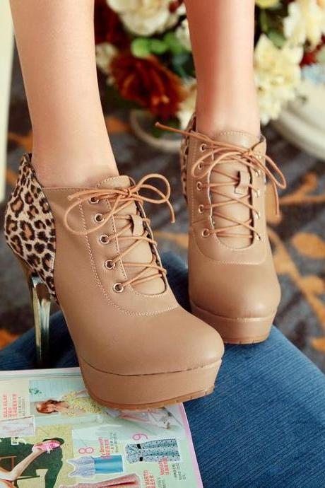 Leopard Print Lace Up Booties