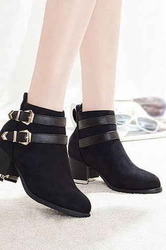 Chunky Heel Black Buckle Design Ankle Boots