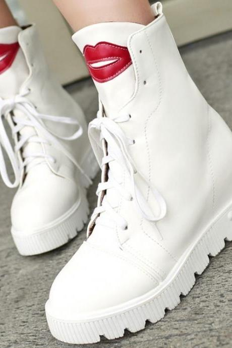 Cute Red Lip Low Heel Boots(00008) 4AJKNESN5EM