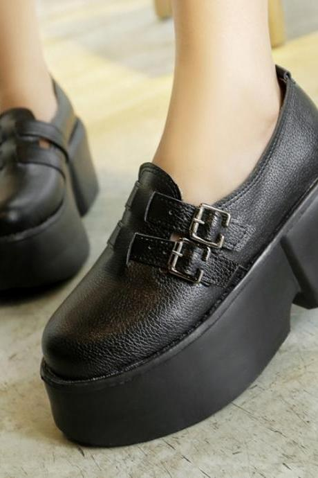 Woman With Metal Buckle Mid Heel Casual PU Flats(00012) UNWRVKYX1PY