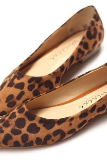 Pointed Toe Leopard Print Ballerina Slip-On Pumps