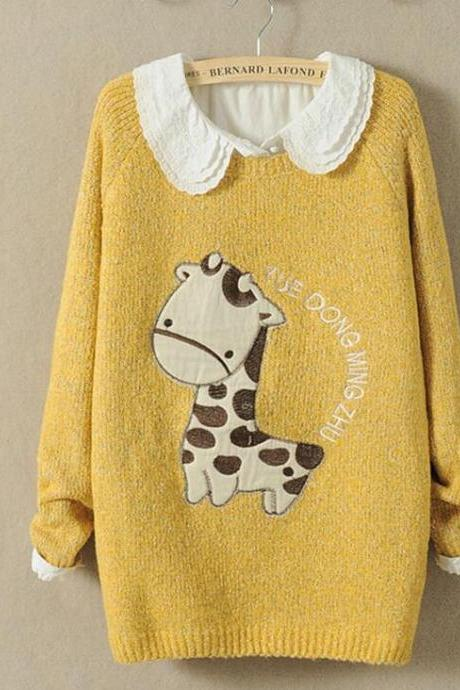 Cartoon fawn sets round collar women's comfortable sweater
