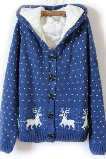 Blue Hooded Long Sleeve Deer Pattern Sweater Cardigan