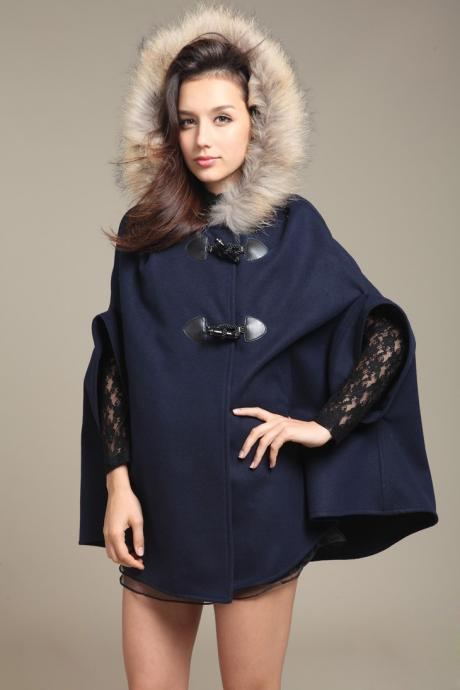 Coat Cape Jacket In Navy Blue