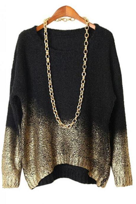 Women Fashion Round Neck Pullover Bat Loose Bronzing Knit Sweater