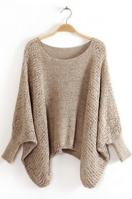 Women'S Fashoin Loose Bat Sleeve Round Neck Sweater