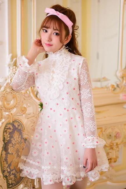 Sweet collar falbala Daisy embroidery organza long sleeve cultivate one's morality dress