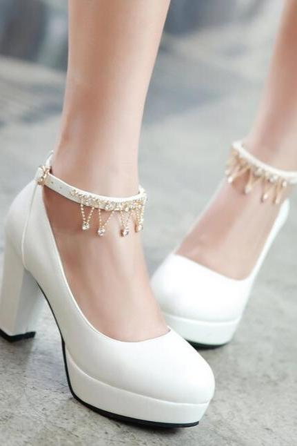 Diamond belt buckles cream-colored bride bridesmaid shoes in 4 colors