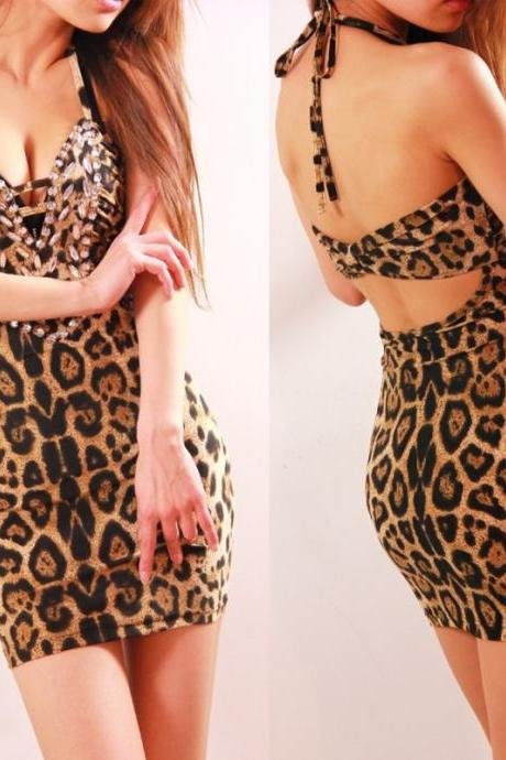 Deep V-neck Backless Leopard Halter Dress