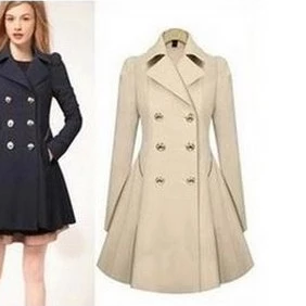 2014 women's slim medium-long collar coat outerwear
