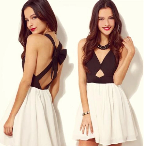 New women sexy black dress white bow hollow party dress
