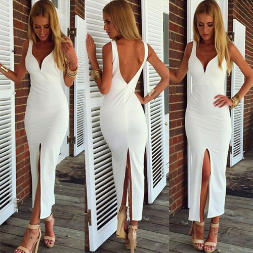 Sexy Backless V-Neck High Slit Slim Fit Dress