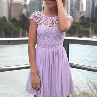 The European And American Fashion Backless Embroidery Hook Flower Bud Silk Joining Together The Dress---Purple