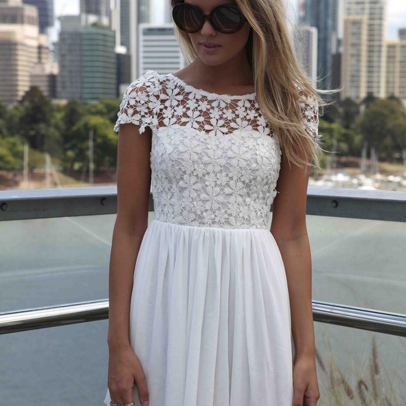 The European And American Fashion Backless Embroidery Hook Flower Bud Silk Joining Together The Dress--White