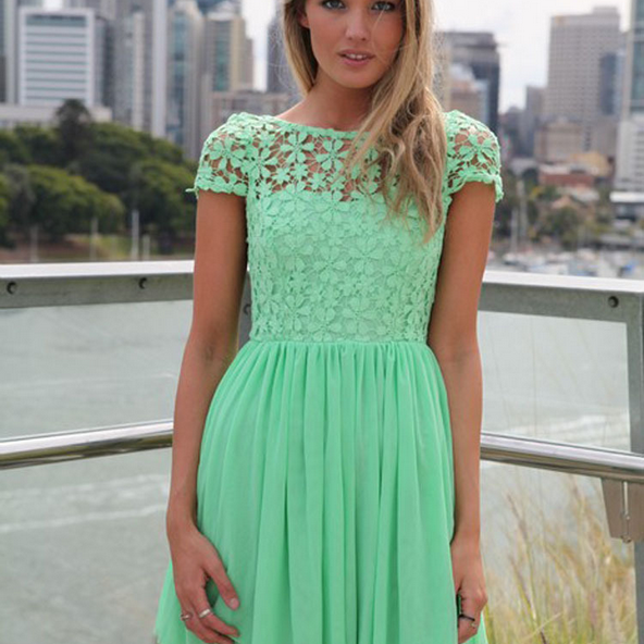 The European And American Fashion Backless Embroidery Hook Flower Bud Silk Joining Together The Dress--Green