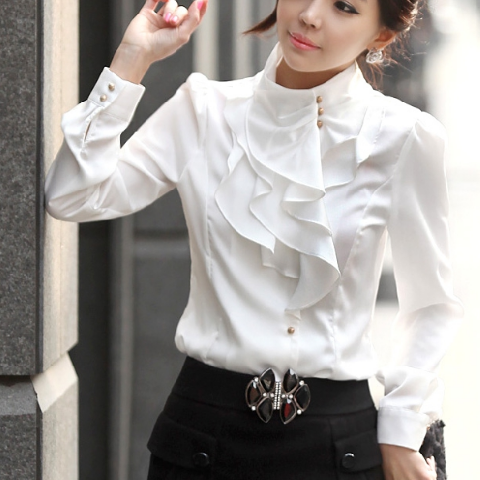 Laconic Mandarin Collar Puff Sleeve Ruffled White Rayon Shirt