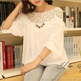 White lace chiffon shirt