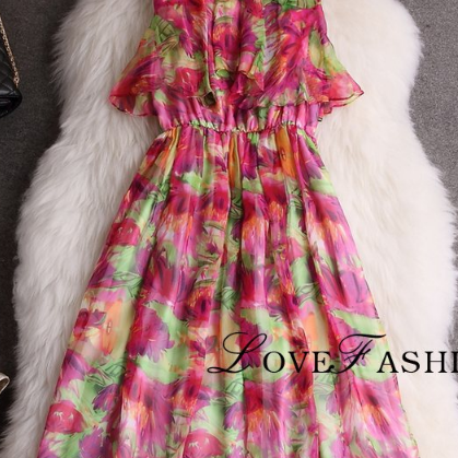 Beautiful printed chiffon dress