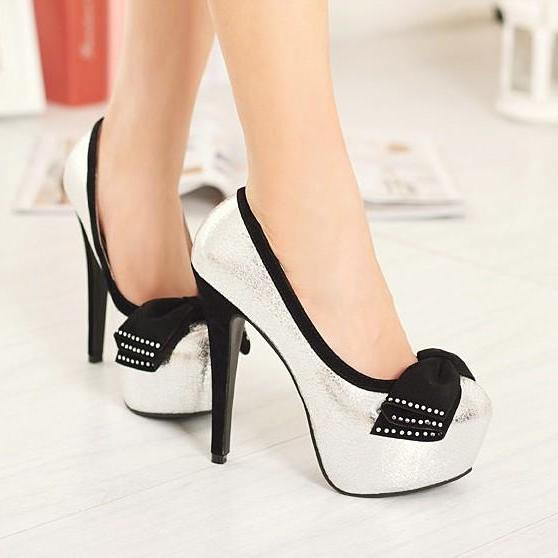 Silver Bow Knot Design High Heel Pumps