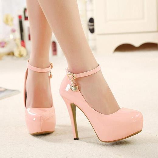 Pink Ankle Strap Design High Heels Fashion Shoes
