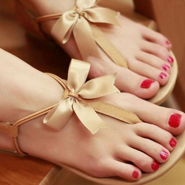 Fashion Leather Bow Sandals