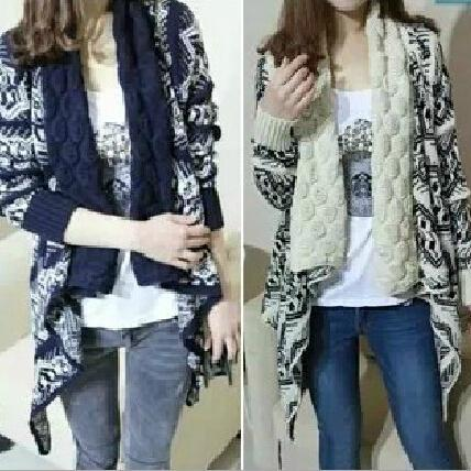 Loose Long Sleeved Geometric Pattern Lapel Irregular Hem Cardigan Sweater